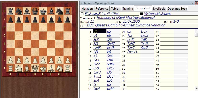Sample Chess Score Sheet | Chessbase 12